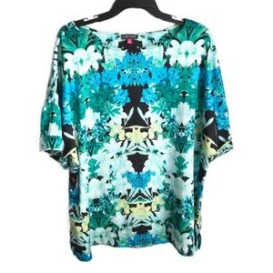 VINCE CAMUTO printed short sleeve blouse 2X